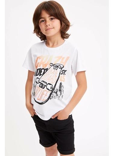 DeFacto Isıyla Renk Değiştiren Baskılı T-shirt Beyaz